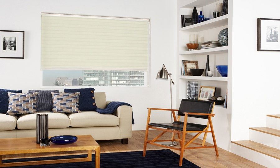 Capri Calico Blind In A Living Room