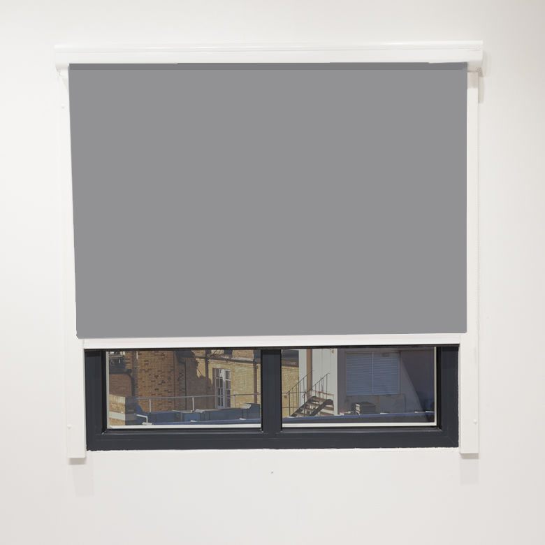 Commercial Electric Blinds With Cassette Head box & Side Rails in Eden Grey