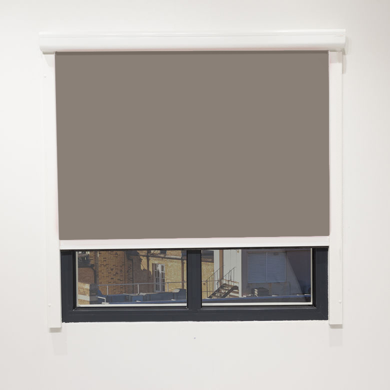 Eden Taupe Cassette Blind With Side Rail Electric